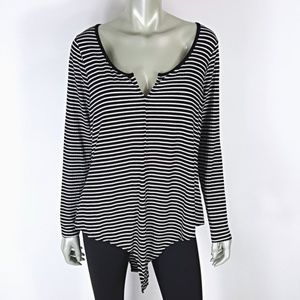 Plus Size 3X B&W Stripe Long Sleeve Bodysuit Top